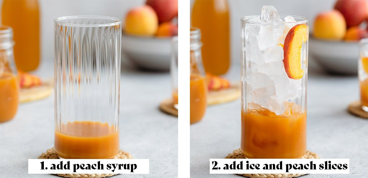 Serving iced peach green tea process shots - 1. add peach syrup, 2. add ice and peach slices.