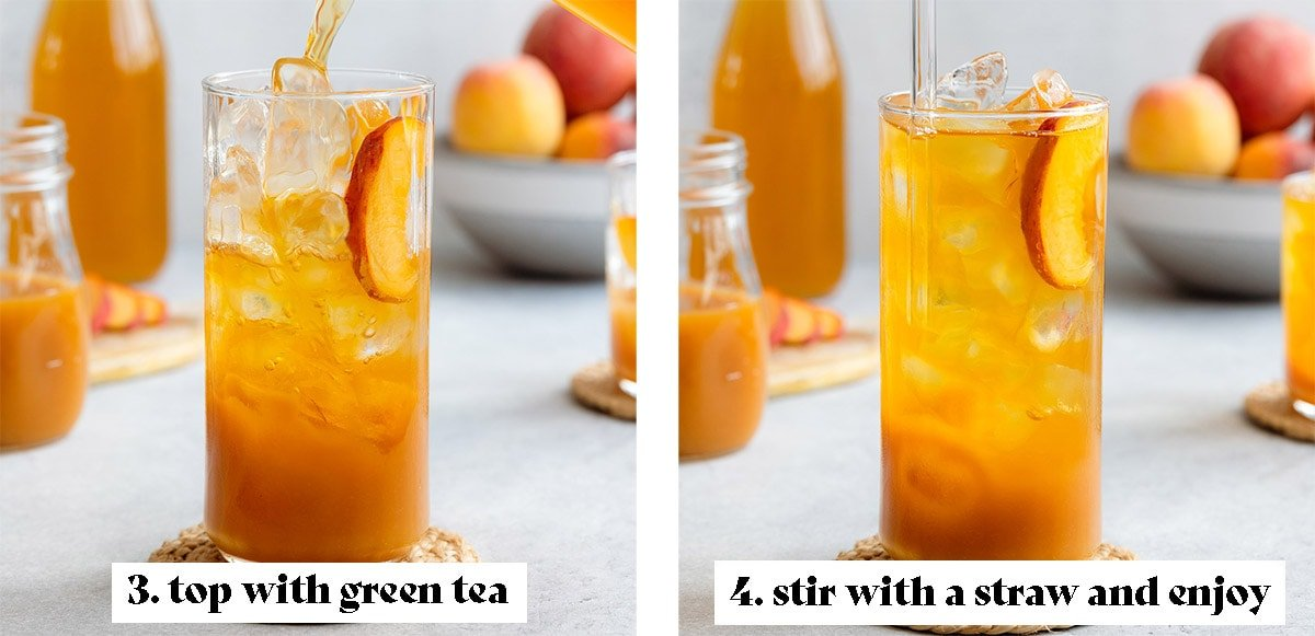 Serving iced peach green tea process shots - 3. top with green tea, 4. stir with a straw and enjoy