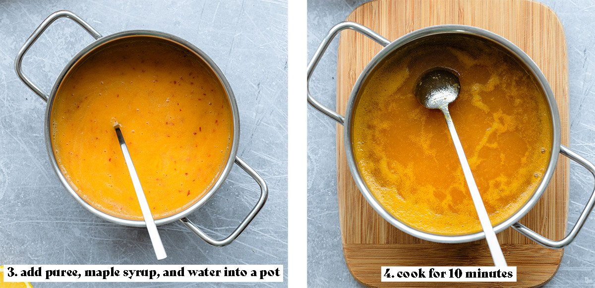 Second process shot collage - 3. add puree, maple syrup, and water into a pot. 4. cook for 10 mins.