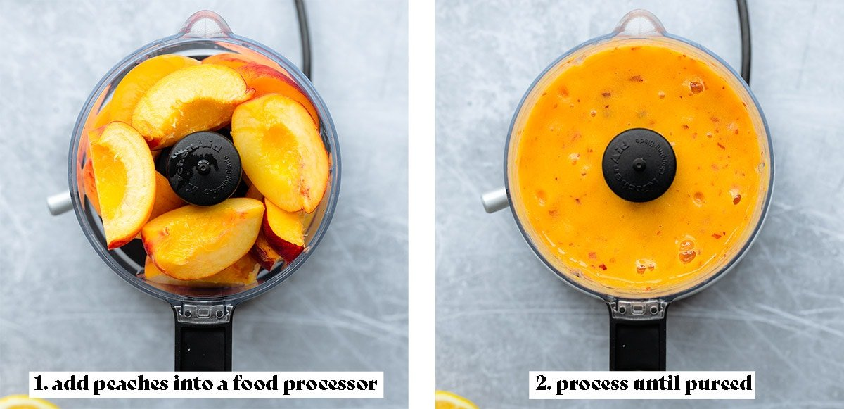 First process shot collage of making peach syrup - 1. add peaches to food processor and 2. process into a puree.