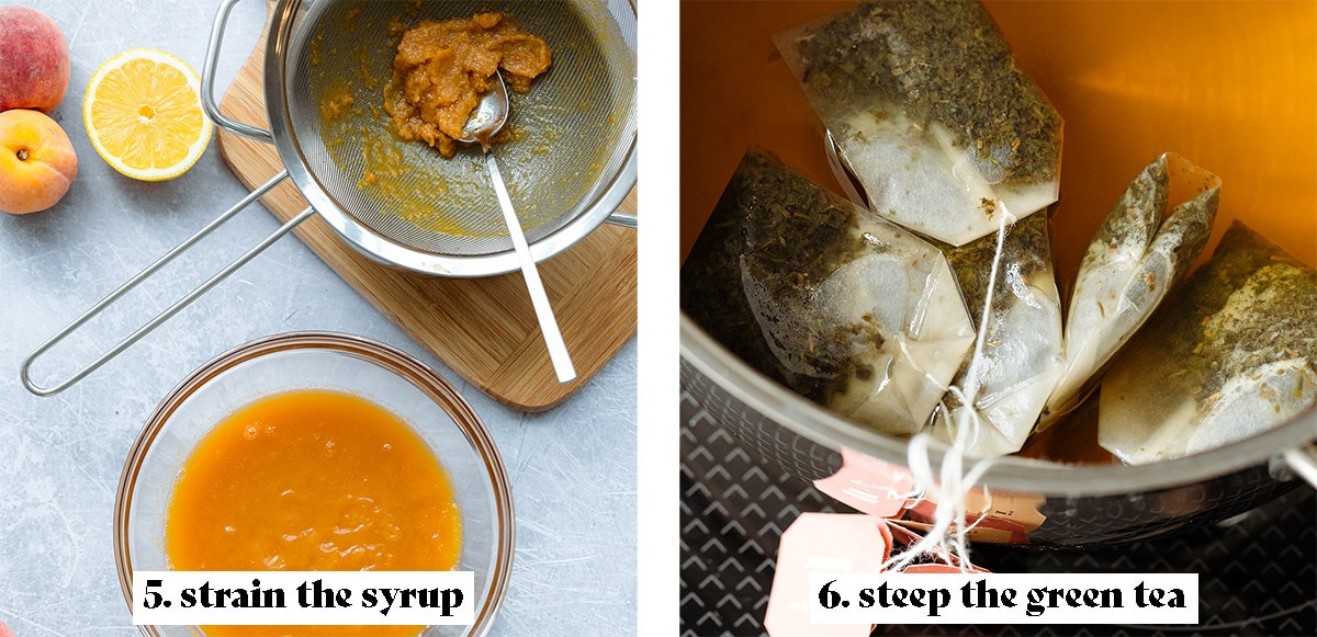 Third process shot collage - 5. strain the syrup, 6. steep the green tea