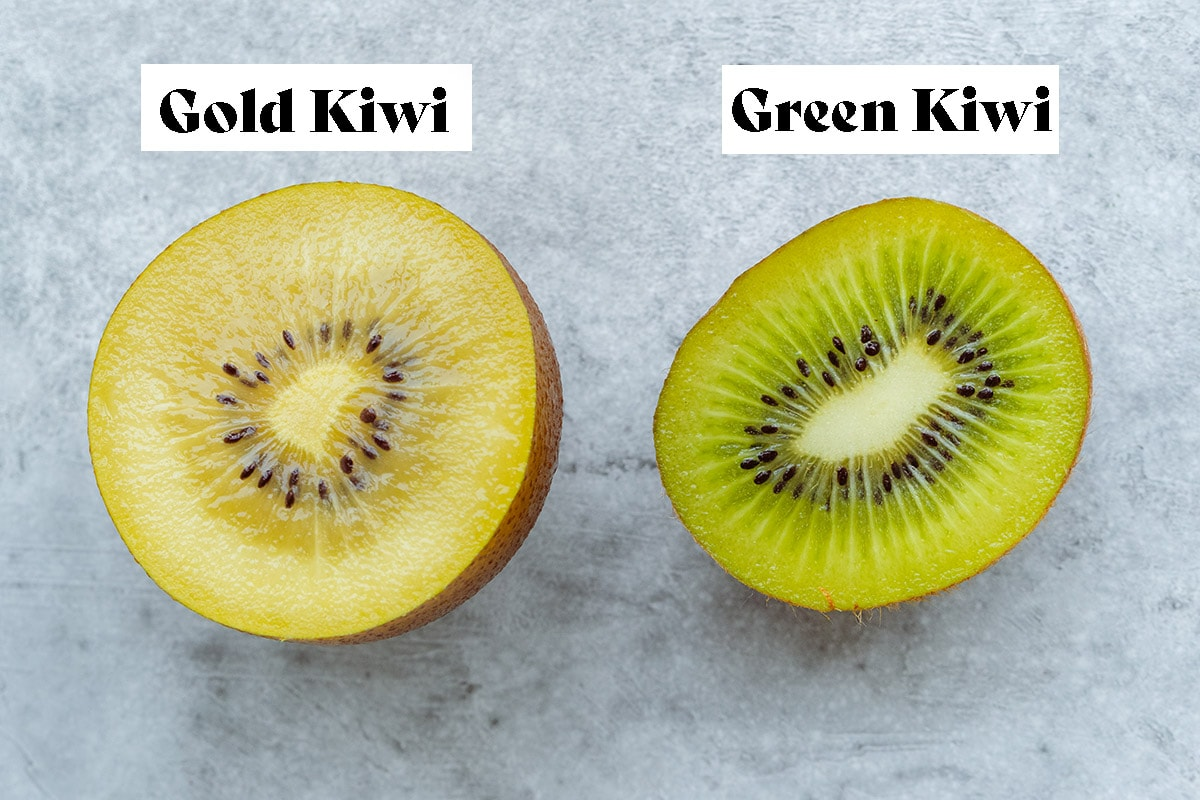 A photo of Gold Kiwi and Green Kiwi to show the difference.