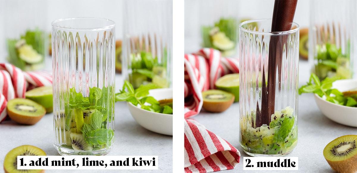 Two process shots showing how to make kiwi mojito - step 1: add mint, lime, and kiwi, step 2: muddle.