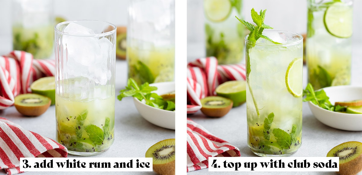 Two process shots on how to make a kiwi mojito - step 3: add white rum and ice, step 4: top up with club soda.