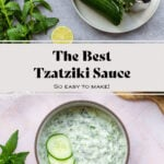 A collage of two photos. One of the tzatziki sauce served in a bowl garnished with three slices of cucumber. and the other of it being made, a cucumber is being grated.