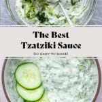 A collage of two photos. One of the tzatziki sauce being mixed, the other of it served in a bowl garnished with three slices of cucumber.