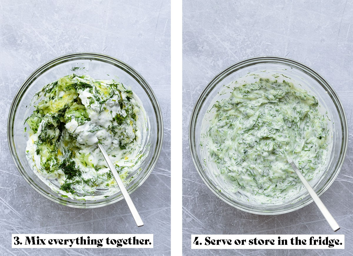 Two process shots of making tzatziki sauce. One of ingredients in a glass bowl before mixing, the other after it's all mixed.