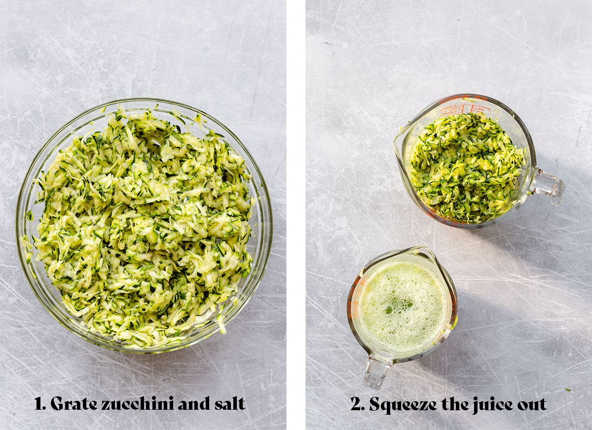 Two photos, on the left a photo of grated zucchini in a glass bowl. On the right there are two glass measuring cups. One with grated zucchini and the other with zucchini juice squeezed out of the zucchini.