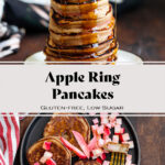 Apple ring pancakes drizzled with maple syrup and topped with diced apples.
