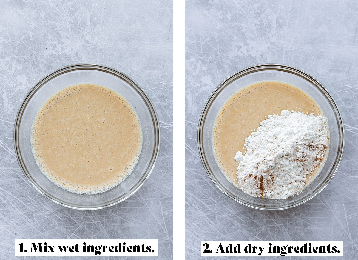Wet ingredients mixed in a glass bowl on the left and flour being added on the right.
