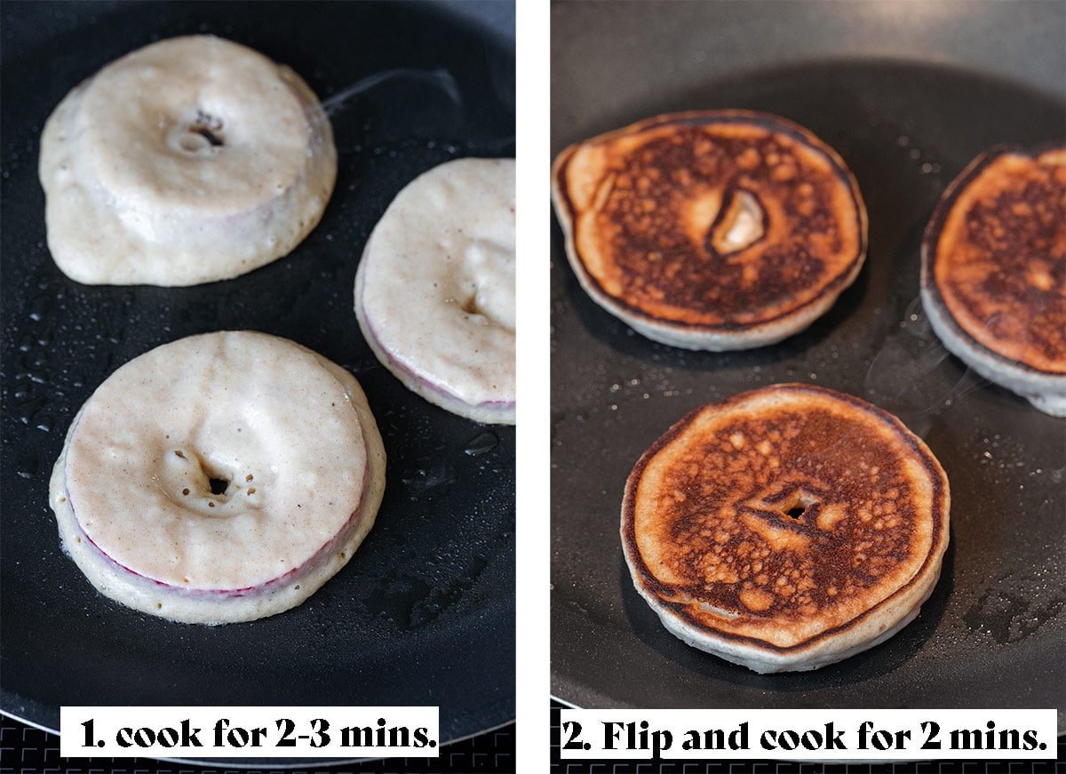 Two photos of cooking pancakes on a shallow pan.
