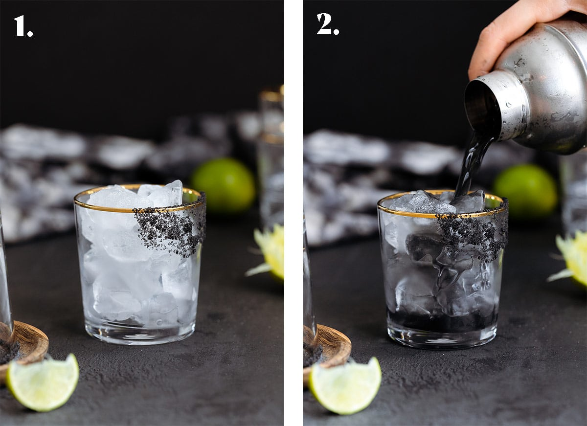 A photo a glass with ice and another of black margarita being poured over ice into a glass with black salt rim.