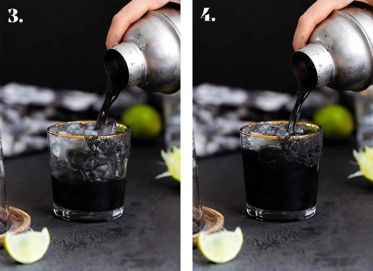 Two photos of black margarita being poured over ice into a glass on a black background.