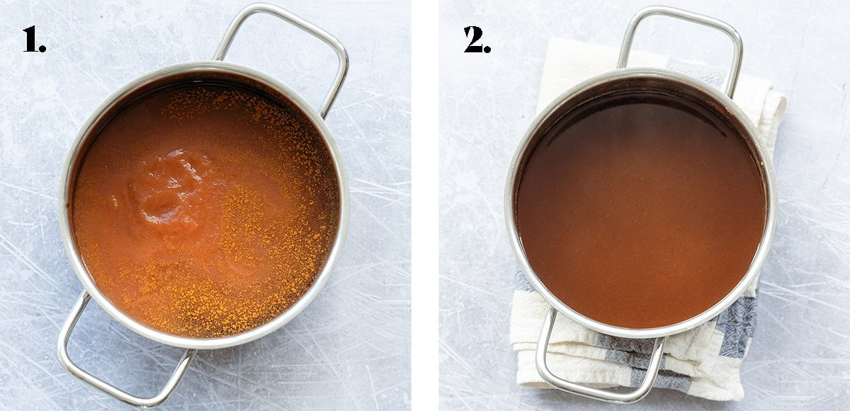 Before and after cooking the apple syrup