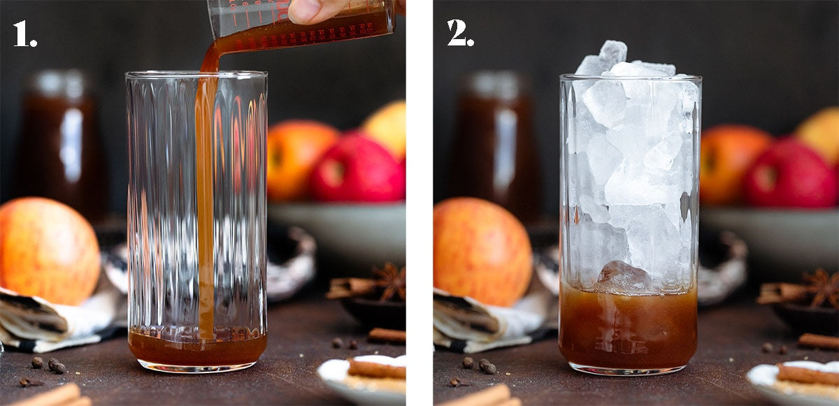 Apple syrup being poured into a tall glass on the left and filled with ice on the right.