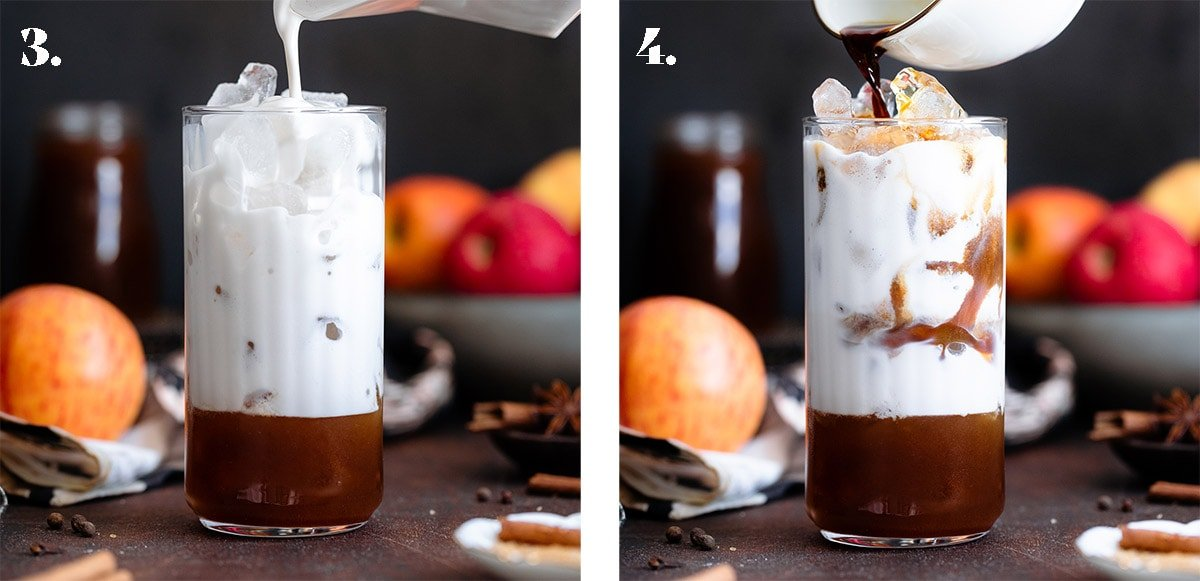 An espresso being poured out of a white mug into a tall glass filled with ice and milk.