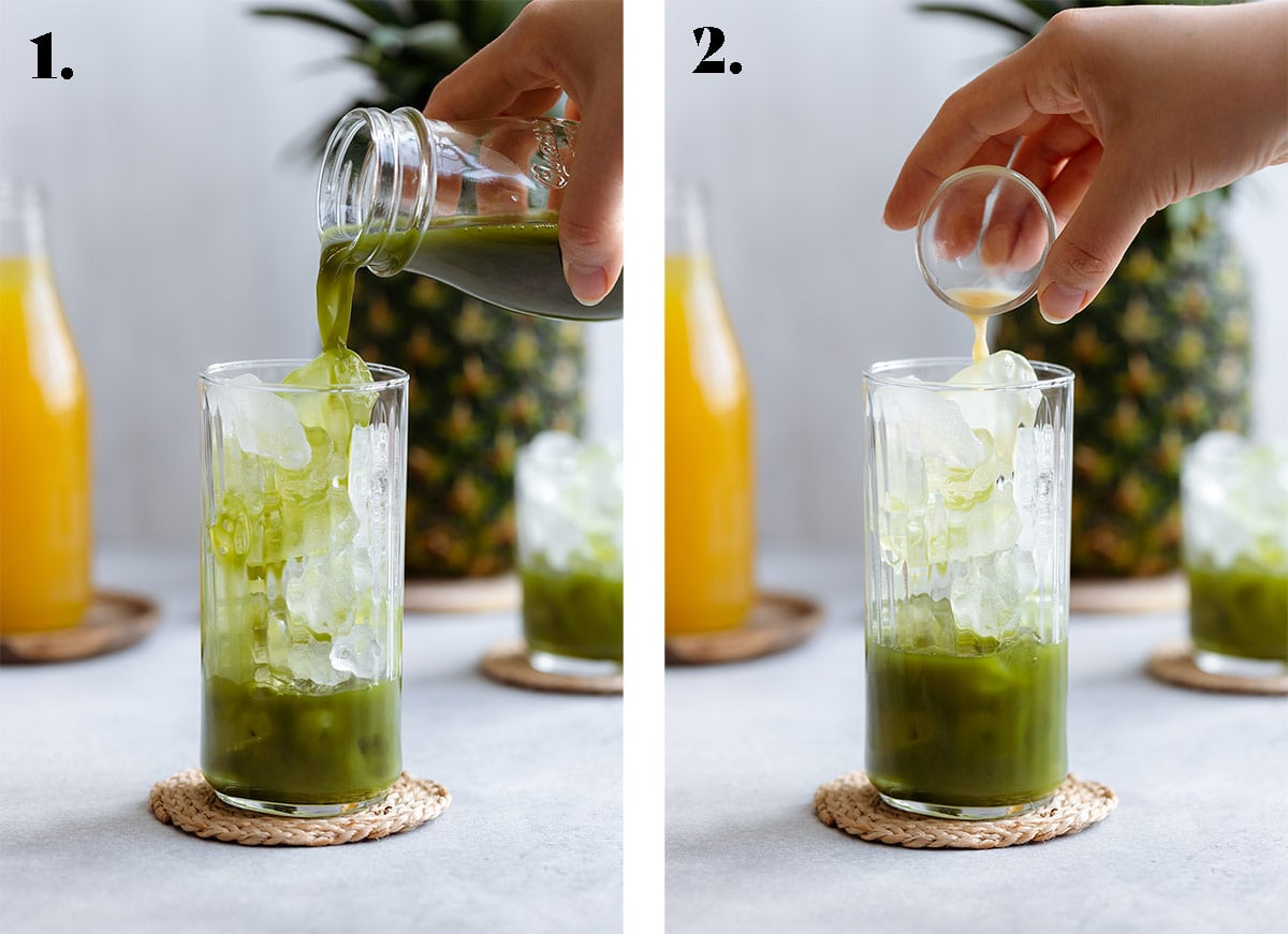 Matcha being poured over ice in one photo and ginger juice in the other.