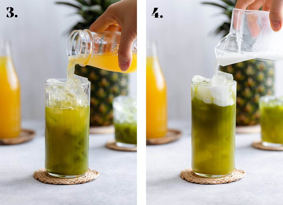 Pineapple juice being poured into the matcha drink on the right and topping with coconut milk on the right.