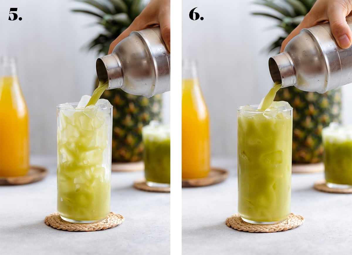 Shaken Pineapple matcha drink being poured over ice from a cocktail shaker.
