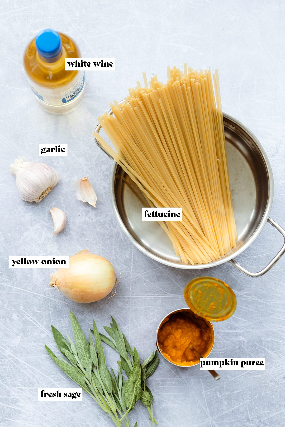 Ingredients for vegan pumpkin pasta laid out on a light metal background.